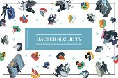 Isometric Hacking Activity Concept With Hackers Committing Different Cyber Crimes Fishing Siren Troj poster