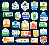 Construction And Building Company Icons, Real Estate Rent And Sale Agencies. Vector Japan House And  poster