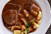 Croatian Traditional Cuisine, Pasticada With Gnocchi - Dalmatian Pot Roast Or Beef/ Croatian Dish -  poster