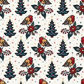 Seamless Pattern. Hand Drawn Christmas Robin Bird Background. Frosty Snowflake Fir Tree All Over Pri poster