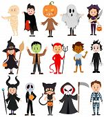 Set Of Children In Costumes For Halloween. Collection Of Cartoon Children In Carnival Costumes. Vect poster