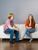 Man And Woman Being Mad, Ignoring Each Other After Fight. Friendship, Couple Breakup Difficulties An poster