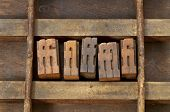 ligature - vintage wooden letterpress printing blocks in an old grunge typesetter drawer