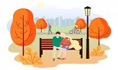 City Autumn Park Landscape. People Walk In The Park, Rides A Bicycle, A Couple In Love Sits On A Ben poster
