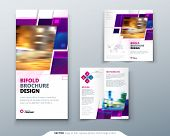 Purple Bi Fold Brochure Design With Square Shapes, Corporate Business Template For Bi Fold Flyer. Cr poster