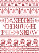 Dashing Through The Snow  Pattern With Scandinavian, Nordic Festive Winter Pasterns In Cross Stitch  poster