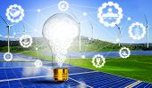 Green Energy Innovation Light Bulb With Future Industry Of Power Generation Icon Graphic Interface.  poster