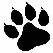 Paw Print Icon On White Background. Flat Style. Dog, Cat, Beer Paw Symbol. Black Animal Paw Print Si poster