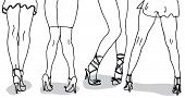 image of stripper shoes  - Womens Legs Hand Drawn - JPG