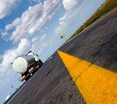 stock photo of fuel tanker  -  fuel gas tanker truck on highway - JPG