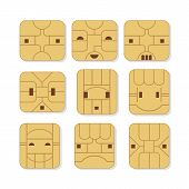 picture of micro-sim  - Sim cards set with various face expressions - JPG