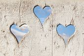 picture of outhouses  - Heart shape look out on wooden door to outhouse - JPG