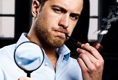 picture of dick  - Portrait of a man smoking a pipe while searching for something - JPG