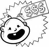 foto of ob-gyn  - Doodle style babies are expensive illustration in vector format - JPG