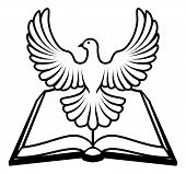 picture of holy-spirit  - Christian Bible with the holy spirit in the form of a white dove - JPG