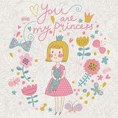 Постер, плакат: You are my princess Cute small princess with her lovely cat in flowers and butterflies Childish ve