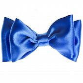 blue ribbon bow tie close up isolated on white background