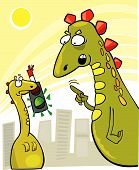 picture of godzilla  - cartoon vector illustration of rude young godzilla and his mother reproof - JPG