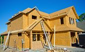 image of 2x4  - House- Wood Frame Construction.  New Home being built.