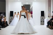 ZAGREB, CROATIA - OCTOBER 12: Fashion model in wedding dress made by Lisa and Maggie Sottero on 'Wed