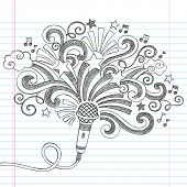 stock photo of shoot out  - Microphone Music Back to School Sketchy Notebook Doodles Illustration with Palm Shooting Stars and Music Notes - JPG