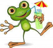 picture of glass frog  - illustration of cheerful frog and a cocktail - JPG