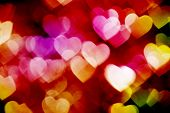 colorful hearts bokeh background