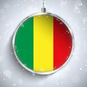 Merry Christmas Silver Ball With Flag Mali