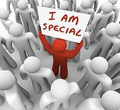 I Am Special Words Sign Proud Person Stand Out in Crowd
