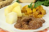 image of rutabaga  - Game stew with turnips vegetables and potatoes  - JPG