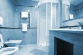 stock photo of shower-cubicle  - Bathroom with a shower cubicle in hotel - JPG
