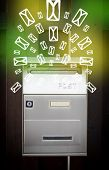 Mailbox with letter icons exploding on glowing green background