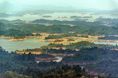 image of medellin  - Beautiful lake at Guatape with a series of forested islands in it in Antioquia Colombia - JPG