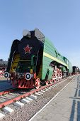 Russia, Nizhny Novgorod, on March 30, 2014. The green engine with a red star on the boiler