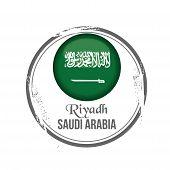 stock photo of riyadh  - Stamp Riyadh capital of Saudi Arabia with flag - JPG