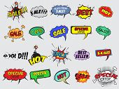 image of promoter  - Pop art comic sale discount promotion decorative icons set with bomb explosive isolated vector illustration - JPG