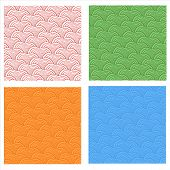 Seamless Abstract  Fish Scale Pattern Set