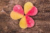 foto of gummy bear  - gummy bears candy assorted on a dark background - JPG