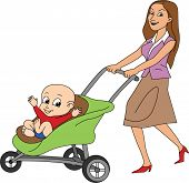 Mother Pushing Baby in Stroller