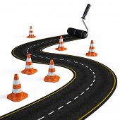 picture of road construction  - Roller brush painting road  - JPG