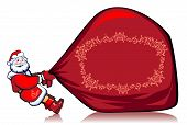 picture of santa claus hat  - Santa Klaus drags very heavy bag with gifts - JPG