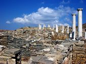 stock photo of phallus  - Antic Stone Columns and Pillars in island Delos near the Mykonos - JPG