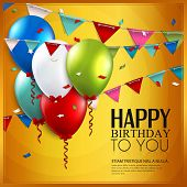 image of birthday  - Birthday card with balloons and birthday text on yellow background - JPG