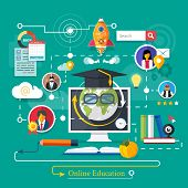 foto of online education  - Set icons for education online education professional education in flat design style - JPG