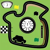 pic of speedo  - Race circuit with clocks car and gauges on it - JPG