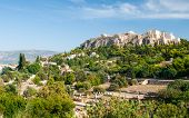 picture of parthenon  - Famous Acropolis hill with the Parthenon monument from the ancient Market in Athens Greece - JPG