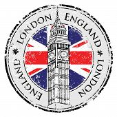 stock photo of freedom tower  - Rubber grunge stamp London Great Britain Big Ben tower and British flag vector - JPG