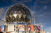 picture of geodesic  - The geodesic dome of Science World reflected in the waters of False Creek Vancouver BC Canada - JPG