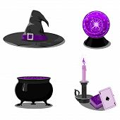 picture of witch ball  - Halloween set with witch accessories in black and purple colors - JPG