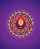 foto of kolam  - Indian new year element icon with purple colour background - JPG